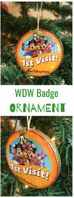 Disney Badge Ornament, DIY and Crafts, Disney badge ornament. Glue two back-to-back. Add a ribbon. Disney Christmas Crafts, Disney Diy Crafts, All Things Christmas, Holiday Crafts, Diy And Crafts, Disney Christmas Decorations, Disney Crafts For Adults, Easy Crafts, Spring Crafts