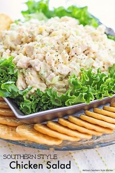 Southern Style Chicken Salad - Chicken salad is a staple in my fridge year round. It& usually nestled right beside the pimento cheese. It& perfect for light meals and between meal snacking for my boys to hold them over until dinner is ready. Southern Chicken Salads, Chicken Salad Recipes, Salad Chicken, Chicken Salad Recipe With Eggs And Pickles, Lemon Pepper Chicken Salad Recipe, Rotisserie Chicken Salad, Avocado Chicken, Cooked Chicken, Breaded Chicken