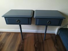 Junk shop find. Stag Minstrel bedside units that would have originally been fixed to a large headboard. New support leg added, these wall mounted units have been smoothly painted in a dark grey. Lush.
