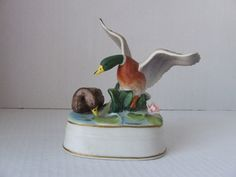 "Vintage Towle Mallard Duck Music Box, Duck Music Box, Porcelain Duck Music Box, Plays ""Born Free"", Great Gift For Him, Office Decor, Vintage by BeautyMeetsTheEye on Etsy"