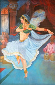 A Lady Court Dancer, Oils Oil on CanvasArtist Giriraj Sharma Indian Women Painting, Indian Art Paintings, Indian Artist, Indian Artwork, Hindus, Indian Drawing, Rajasthani Painting, Composition Painting, Indian Art Gallery
