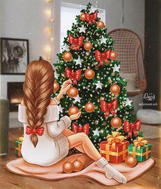 Late night post 🤓 Xmas illustrations season is finaly opened! Christmas Night, Christmas Art, Xmas, Illustration Noel, Christmas Illustration, Cute Girl Drawing, Cute Drawings, Silvester Trip, Girly M
