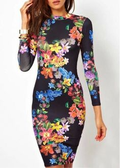 Retro Print Design Long Sleeve Open Back Dress