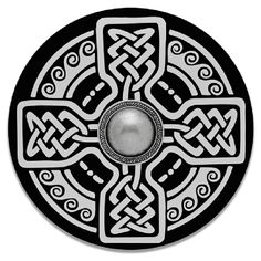 This unique and attractive wooden Celtic shield has a metal hub and wood handle.