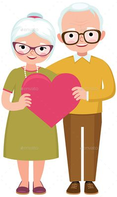Buy Senior Married Couple by JelizaRose on GraphicRiver. Senior married couple of lovers in full length hold the symbol of love heart cartoon vector illustration Old Couple In Love, Old Married Couple, Cute Bear Drawings, Easy Drawings For Kids, Old Couples, Couples In Love, Teddy Bear Quotes, Senior Humor, Letter To My Daughter