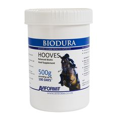 BIODURA Biotin Hoof Care for Horses New improved - balanced biotin hoof supplement containing Biotin, Methionine, Zinc, MSM, Brewers Yeast, Calcium and Vitamin C. Especially designed for horses suffering with weak, cracked and brittle hooves. Recommended by Farriers and Veterinary Surgeons. For short and long term hoof health. Prices start at just £19.95