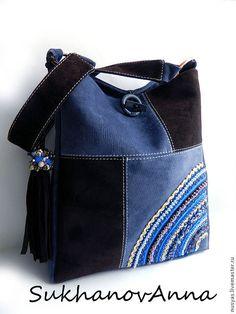 """Купить Сумка """"Замшевый деним"""" - тёмно-синий, сумка замшевая, синий и коричневый, Сумка с вышивкой"""