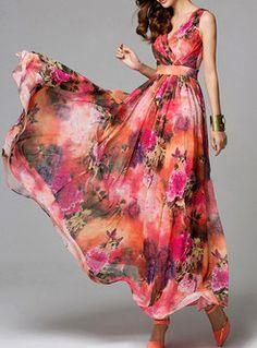 Bohemian Red Print Maxi Dress