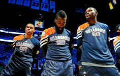 Kevin Durant, Russell Westbrook and James Harden #okcthunder #duo