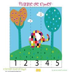 puzzle kids, puzzle para niños, cuento elmer, juego elmer, cartas de memoria…