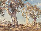 Hans HEYSEN , not titled [Trees and grazing sheep] Adelaide South Australia, Australian Artists, Sheep, German, Walls, Paintings, Watercolor, Country, Deutsch