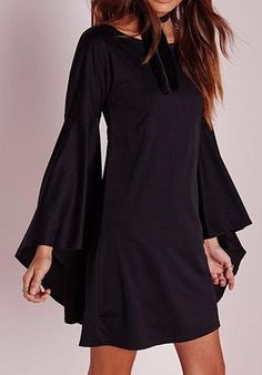 Flare Sleeve Dress | Super cute easy to wear flounce around flare sleeve Dress/Tunic wear with Leaggings in colder weathe | Primary View | Sassy Posh