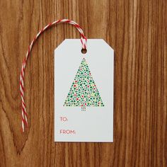 Dotted Tree Christmas Gift Tags - Set of 10