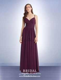 Bill Levkoff 1162 Chiffon V-neck sleeveless gown with criss-cross pleated  bodice. Soft gathers surround the skirt. Lilybud · bridesmaids 4d80c71f84cb