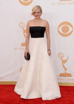 #emmyfashion Actress Elisabeth Moss arrives at the 65th Annual Primetime Emmy Awards held at Nokia Theatre L.A. Live on September 22, 2013 in Los Angeles, California.