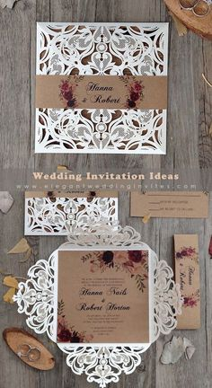 floral patterned ivory laser cut rustic wedding invitation EWWS023 Wedding Gifts For Bridesmaids, Diy Wedding, Rustic Wedding, Wedding Photos, Wedding Ideas, Homemade Wedding Invitations, Laser Cut Wedding Invitations, Reception Card, Wow Products