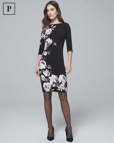7926a08cd44d Women's Petite Reversible Floral/Filigree Print Knit Sheath Dress by White  House Black Market Sheath