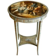For Sale on - Period and original Adam style painted work or sewing table -- Neoclassical -- Hogarth type painting on top lid and a narrative work on the inside -- Amazing Small Console Tables, Small Coffee Table, End Tables, Adams Furniture, Table Furniture, Estilo Adam, Adam Style, Trestle Table, Round Side Table