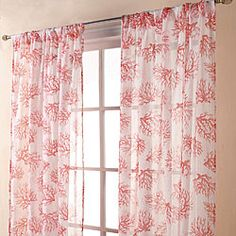Coral Print Sheer Coral Spice 84-inch Curtain Panel Pair