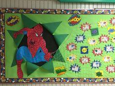Spider-Man bulletin board for our superhero theme: