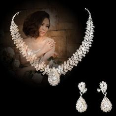 2014 Women Wedding Bridal Brides crystal necklaces earrings Set Jewelry [Misc.]