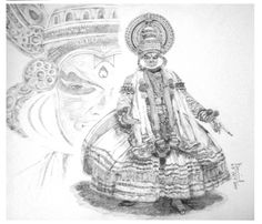 Graphite Drawing of Kathakali Dance, Indian Classical Dance