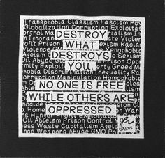 Art Punk Patches Punk Patch Print DIY Destroy what Destroys You Fight Oppression Punk Rock Crust Anarcho Political Small Cloth Patch