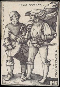 Artist; Beham, Hans Sebald, Title: Standard Bearer and Drummer, Date: 1544