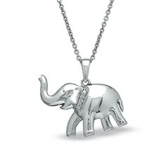 Vivid stainless steel elephant pendant necklaces 18k gold plated diamond accent elephant pendant in sterling silver aloadofball Images