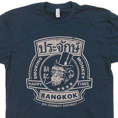c0c6f0ee7 Sleeve Tops Tshirt Homme Bangkok Thailand T Shirt Smoking Monkey Beastie  Bar Pub Boys The Hangover Funny Shirtmandude