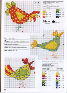 Birds and Chicks in Cross Stitch. Maybe a bird wall hanging with center done in Cross stitch. So summery! Cross Stitch Borders, Cross Stitch Charts, Cross Stitch Designs, Cross Stitching, Cross Stitch Embroidery, Cross Stitch Patterns, Rooster Cross Stitch, Chicken Cross Stitch, Cross Stitch Animals