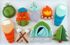 Creative ways to use common cookie cutters for camping-themed cookies. By SemiSweet Designs @semisweetmike