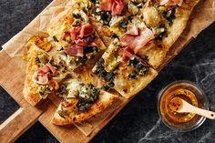 Artichoke, Spinach, and Prosciutto Flatbreads