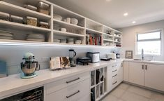 Heavenly scullery with open shelving and plenty of drawer space, it also has a window allowing natural light in. A great functional yet stylish working area that can be closed off from the main kitchen. (scheduled via http://www.tailwindapp.com?utm_source=pinterest&utm_medium=twpin&utm_content=post114720853&utm_campaign=scheduler_attribution)
