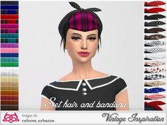 The Sims Resource: Set retro / alternative hair / bandana  • Sims 4 Downloads