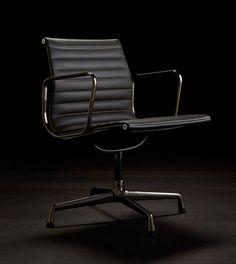 Vitra Eames Aluminium Chair EA 108 in new Dark Chrome finish.  Design: Charles & Ray Eames, 1958