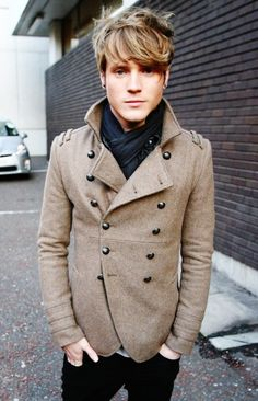 Dougie Poynter wearing a River Island Stone Double Breasted Military Jacket.