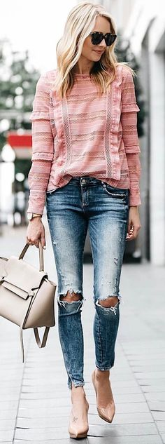 #summer #outfits Pink Ruffle Top + Destroyed Skinny Jeans + Nude Pumps
