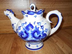 Russian Teapot Large Vintage Cobalt Blue by SETXTreasures on Etsy