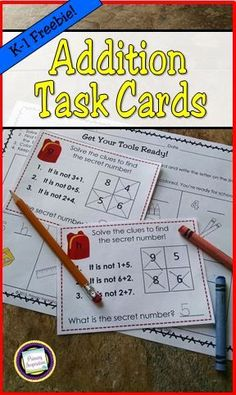 Introduce your kindergarten and first grade students to math logic riddles with this free set of task cards for addition. Your students will find the Secret Number on each card by eliminating three of the choices. So many ways to use: in a math center, Math Literacy, Guided Math, Kindergarten Math, Teaching Math, Teaching Ideas, Guided Reading, Numeracy, Teaching Materials, Teaching Addition