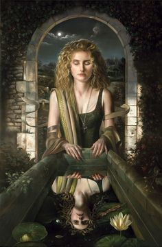 """artbeautypaintings: """"Thinking of Medusa - David Michael Bowers """" Art Institute Of Pittsburgh, Joseph Campbell, Mystique, Gods And Goddesses, Ancient Goddesses, Surreal Art, Painting Techniques, Art Pictures, Magick"""