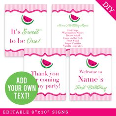 Paper goods and DIY printables for parties and holidays Birthday Text, Birthday Ideas, Sweet Watermelon, Sliced Potatoes, Lemon Cream, Vanilla Sugar, Party Signs, Cupcake Cookies, Diy Paper