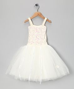Cream Sequin Twinkle Dress - Toddler & Girls    Makayla