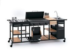 BST Magnum outdoor Kitchen for the thorough Barbecue Experience Custom Bbq Smokers, Custom Bbq Pits, My Patio Design, Grill Design, Design Barbecue, Barbecue Grill, Modular Outdoor Kitchens, Outdoor Rooms, Mens Kitchen