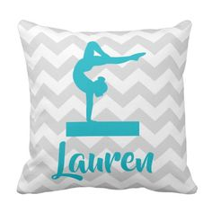 Shop Teal Grey Gymnastics Throw Pillow created by Kookyburra. Gymnastics Gifts, Grey Throw Pillows, Teal And Grey, Gifts For Teens, Deco, Chevron, Gymnasts, Rooms, Design