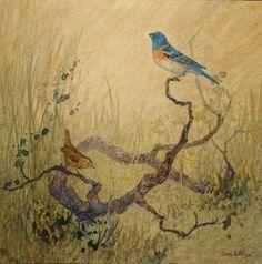 """Lazuli Bunting & Wren""by Floy Zittin  original watercolor on board, size 10 x 10"