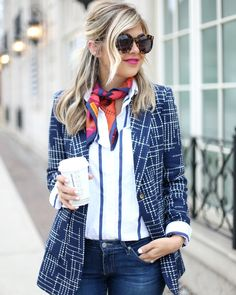 This gorgeous Tuesday in London take it slow and enjoy the sights in a bright #silk #scarf knitted loosely with an oversized blazer and skinny jeans like the beautiful blogger Keystone Lee of.Suburban Faux Pas. #styletips