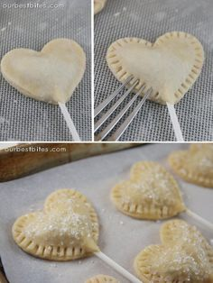 Sweetie Pie Pops. Bite size pieces of pie.  REVIEW: I would make the glaze that goes with these and maybe cook them a little longer. I like the crust a little brown and flakey. But otherwise, they tasted really good!