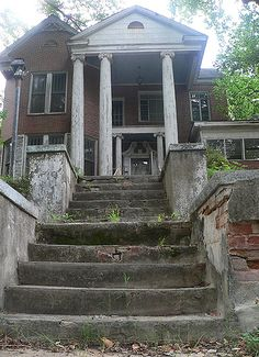 """""""The Old Ward's Funeral Home"""" -- [207 Avenue A - Opelika, Lee County, Alabama.  According to courthouse records this home was built in the 1870's.]~[Photograph by sonofgawddog - July 10 2007]'h4d-45.2013' #Abandoned #photography #abandonedplaces #abandon #decay"""