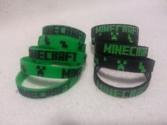 Minecraft Creeper Inspired Silicone Bracelet party favors pack of 10